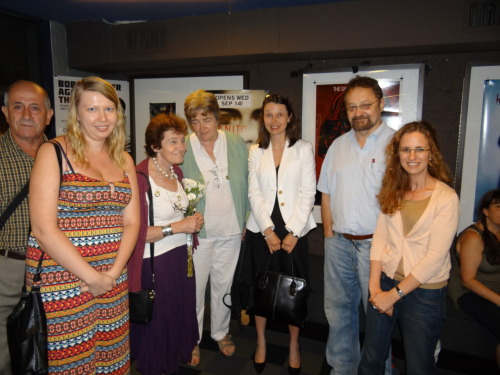 Filmmaker Marina Goldovskaya and friends after the premiere screening of A Bitter Taste of Freedom.