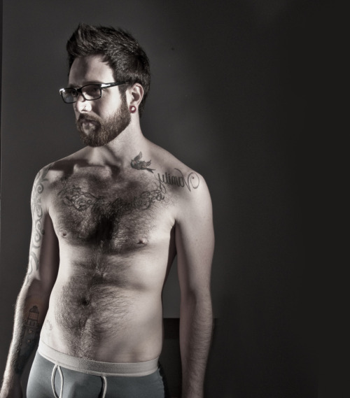 Furry, bearded, hipster Husband Material in boxer briefs.