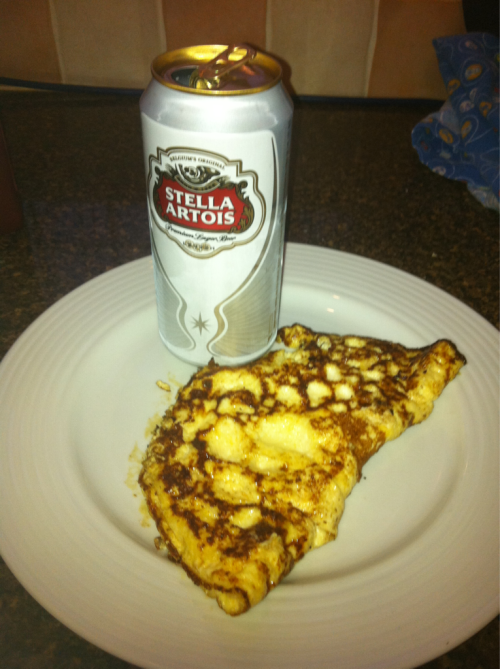 My first omelette attempt. I think the Stella adds a bit of class