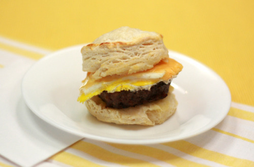 Sausage, egg, and cheese on a biscuit. Perfect breakfast sandwich.