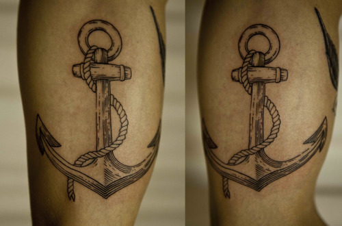 galyagisca:  Marnix wanted an anchor, I adapted the scraperboard style to tattooing…