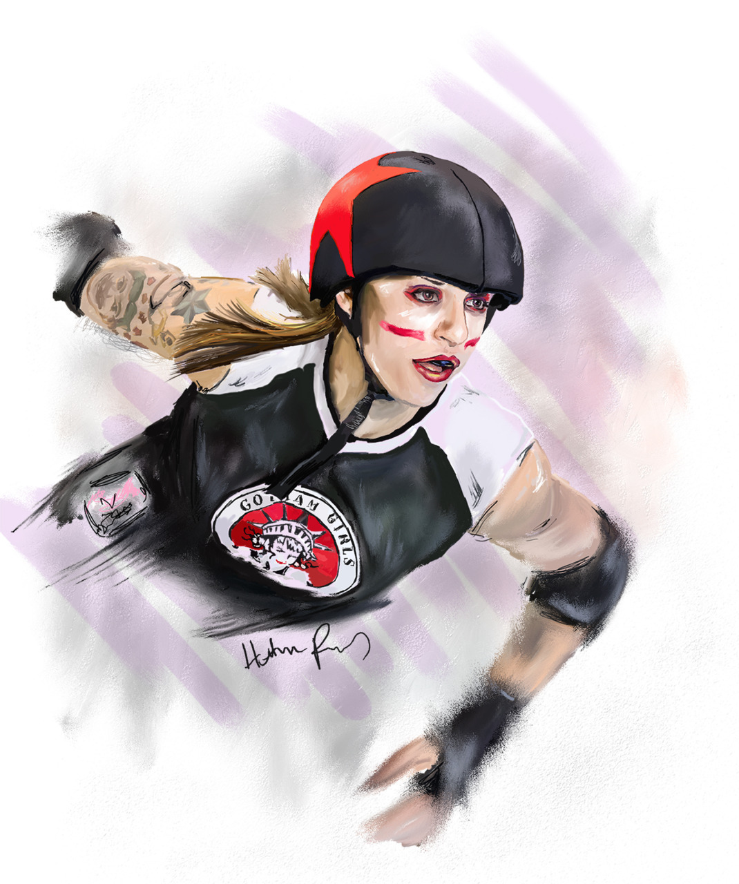 Portrait #2 in my Derby Heroes series. I decided to feature Suzy Hotrod from Gotham Girls Roller Derby out of NYC. I referenced a photo taken by Joe Rollerfan. Done in Corel Painter.