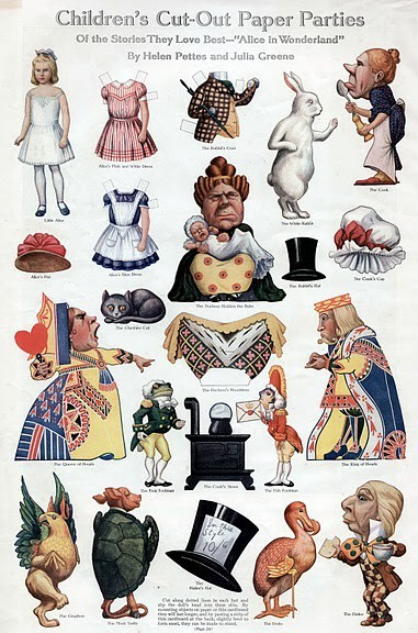Alice in Wonderland: Children's cut-out paper parties  via Picasaweb