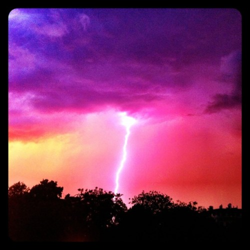 Shoot Day 5: sunset + lightning = stunning rain delay. (Taken with Instagram at Jardins des Champs-Élysées (Les))