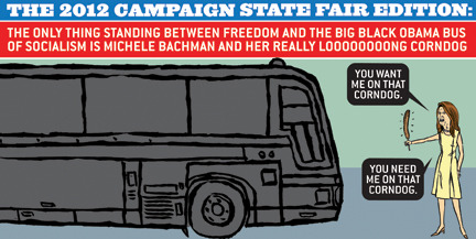 Michelle Bachmann VS Big Black Obama Bus, Tiananmen Square Stylee.