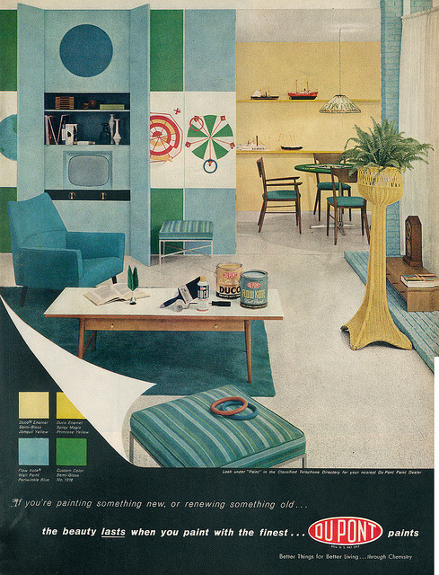 #dupont #Decor theniftyfifties:  A 1958 Du Pont interior paint advertisement.