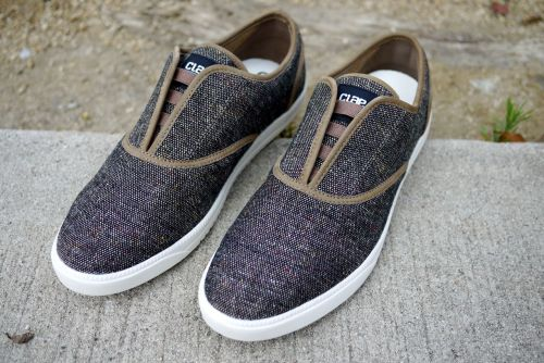 CLAE Bruce in Brown Speckle wool.