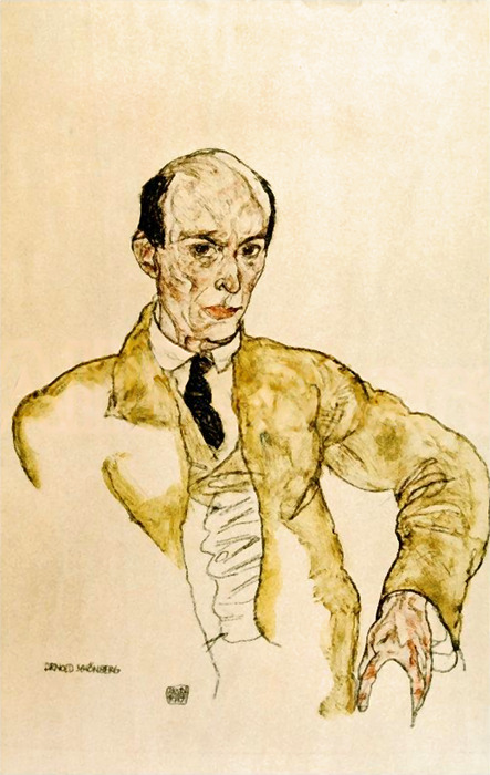 Austrian (later American) Expressionist composer Arnold Schoenberg (originally Schönberg): Sep. 13, 1874 – July 13, 1951… Above: Portrait of Arnold Schönberg by Egon Schiele