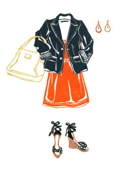 Preppy summer work outfit. Illustration by Lis Sartori (www.lissartori.com)