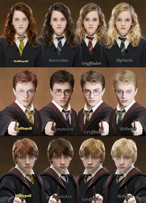 catnus:  acciofeltson:  always-irrelevant:  Can I just say. Ravenclaw Ron.  That is all.  Slytherin Harry Potter looks like he's well on the way to being Voldemort….  Hufflepuff Harry tho… omg