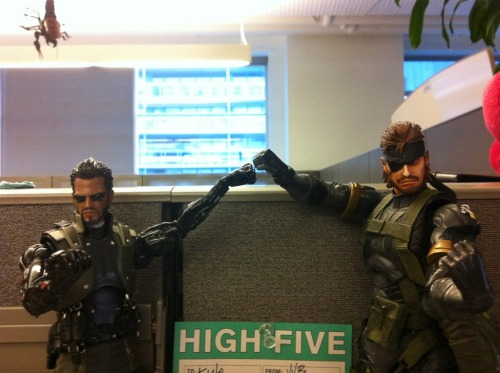 Solid Snake & Adam Jensen high five over the #DXHR review scores! #DXHRLAUNCH (pic by @Coyotegrey )