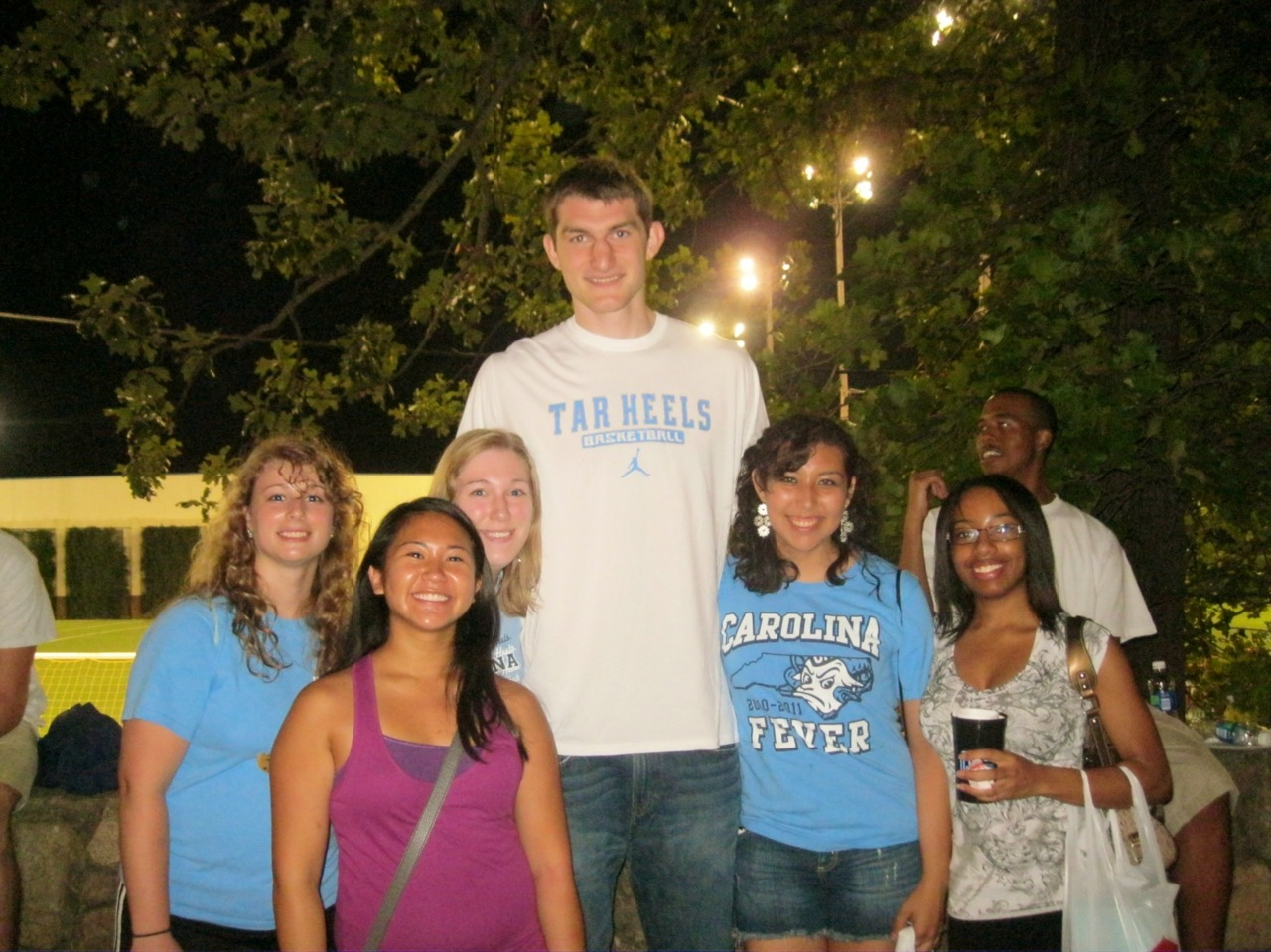 Oh hey, Tyler Zeller. From left to right: Holly Roper, Leslie Uy, Laura Ludwig, Tyler Zeller, Luz Cuaboy, Lakeia Grant.