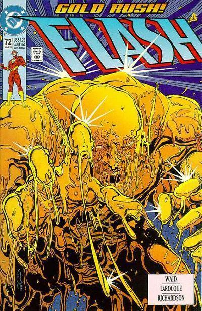 "The Flash v2 #72, ""Chemistry,"" January 1993, written by Mark Waid, penciled by Sal Velluto The Flash has a final showdown with the new Alchemist, gets to the bottom of the case of a missing microcomputer, and confesses his feelings to Linda just in time. Happy ending! Geez, doesn't the Flash know Superman is dead? Happy endings are not POSSIBLE with Superman dead! What the 27 year old thinks: Y'know, good. Really good. It's not great, but it is a good superhero story. Since this is a superhero comic, a good superhero story is all I can really ask for. I've said superhero a lot in this entry so far. Anyway, Waid has done a solid job of creating a relatable hero who seems both flawed and confident. I like that he gets annoyed at the ex-con entrusted in his care, and I like that he worries about little things like rain messing with his powers. He's a real person, you guys! Wally West is a real person! What the 8 year old thinks: Man, he just really likes the Flash. Superman has been hella depressing lately, so it's nice to read a full on action and adventure story. He likes. Verdict: ""If Genie gave me three wishes, one would be for an awesome comic book. Thank you, Genie! Wish come true!!!"""
