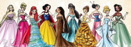What would the Disney princesses look like if they were to walk down a runway? Disney haute couture! From left to right: Rapunzel, Aurora, Ariel, Snow White, Pocahontas, Jasmine, Belle, Mulan, Cinderella, Tiana,