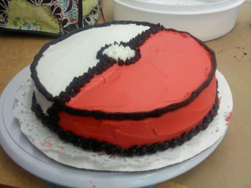 I made a Pokeball cake today. :D It's chocolate with raspberry filling.