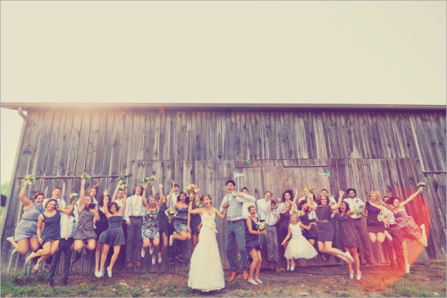 maidofastolat:  fuckyeahweddingideas:  16 bridesmaids and 13 groomsmen…wow!  There's no way someone has that many close friends. That's A LOT! I want two or three. Maybe even four.  so…she basically had her tumblr friends come to the wedding then right? because thats the ONLY way i'd have that many people haha
