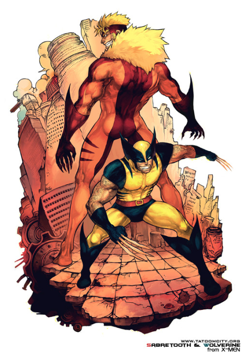 noahbodie:  Fanart using Wolverine and Sabretooth's most iconic costumes by Yi Lee.
