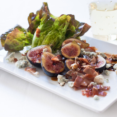 Figs, blue cheese and prosciutto salad plate at 18 Reasons, for a food photography workshop led by food photographer Scott Peterson, with food stylist and caterer Anita Marquardt.