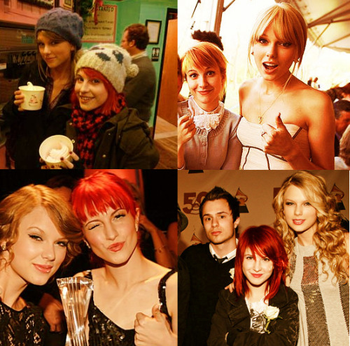 "Favourite Celebrity Friendships - Taylor Swift and Hayley Williams   ""Taylor's really, really sweet, and honestly, I don't have a lot of girlfriends that do the same thing that I do, and she's on a completely different level and in a completely different genre. That makes it fun too, because neither one of us have anything to lose or gain by hanging out. We just enjoy talking to each other."""