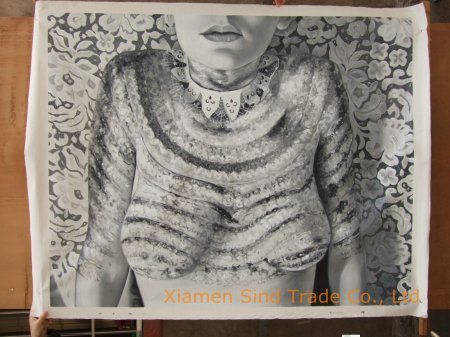 Body Art—Lace Drawing  Latest artwork from photo, white colored, vintage style.  Body art, oil on linen (If you are interest in it, inquiry price at xiamen1986@gmail.com)