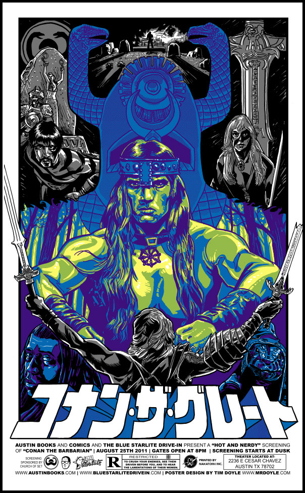 "xombiedirge:  Conan The Barbarian Print by Tim Doyle / Tumblr 16"" X 26"" Regular Red edition of 375 and this Blue Variant is in a run of 175. Available HERE"