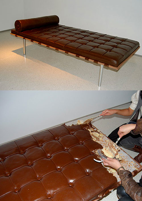 "fartwithheadphoneson:  szymon:  chocolate couch by Leandro Erlich for an art-exhibit appropriately named ""Let Them Eat Art""    My heart just sank when I thought they were destroying a Mies lounge. Then I realized it was cake and I want it in my moooouth. Side note: My birthday is this Saturday and I wants me some Miesian lounge cake."