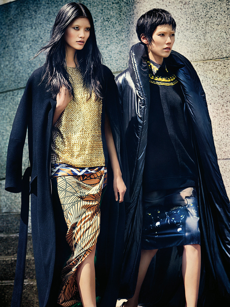 Tao Okamoto and Ming Xi rock the maxi coat in our Fall Trends section of our new Women's Fashion issue.