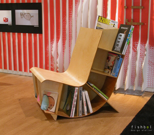jonwithabullet:  Bookseat by Fishbol Atelier  The Bookseat, is a simple bookcase that playfully curves and becomes a seat. The creative design is a response to the advent of multifunctional spaces in today's urban living.