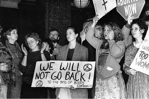 Vintage Pro-Choice Photo: WE WILL NOT GO BACK to the days of bloody coathangers!