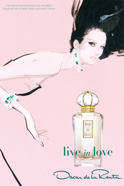 "This is the ad for Oscar de la Renta's new fragrance, Live in Love. It was created by fashion illustrator David Downton. Don't get me wrong. Digital photography is amazing, but beautiful images like this make me long for the days ""when advertising came out of an artist's pen and brush,"" as Women's Wear Daily so aptly put it. Interestingly, one of the inspirations for Live in Love is this tattoo on Raffaele, the head of de la Renta's sample room. ~M.M. Photo: OscarPRGirl"