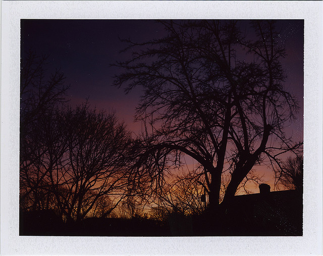 One of the first shots I pulled from my, then newly aquired, Polaroid 600 SE. Evening Twilight /// Belford, NJ /// January 2009.