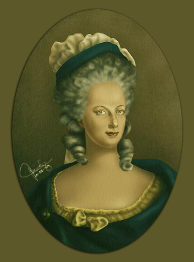A digital painting I created as a tribute to Marie Antoinette. It was done in Photoshop.
