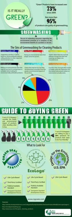 "Aguide to buying green cleaning products. Are your cleaning products guilty of ""greenwashing"" and merely pretending to be environmentally safe? Via CSGCares."
