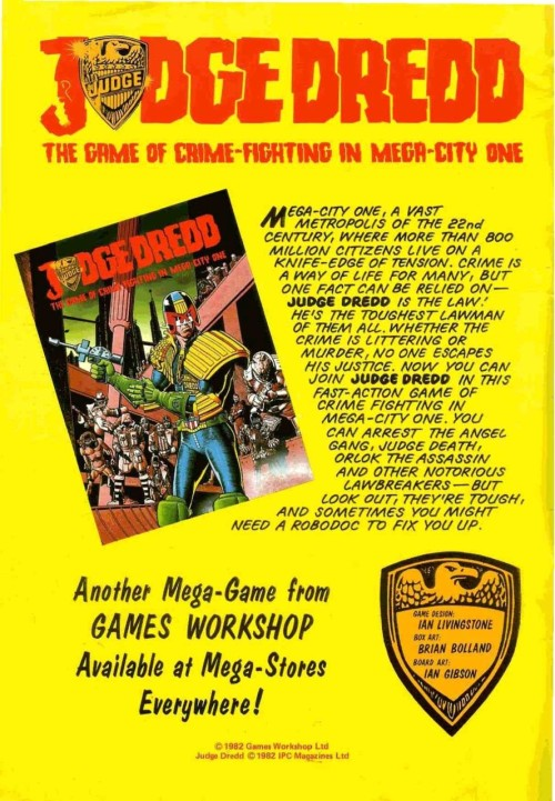 Advert for GW's Judge Dredd boardgame, 1982
