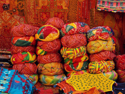 Gorgeous colorfull textiles ~ Jaisalmer, Rajasthan, India