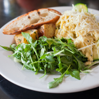 Zucchini, fennel & pecorino scramble, with roasted potatoes and salad, served for brunch at Beretta, 1199 Valencia St., San Francisco, CA 94110.