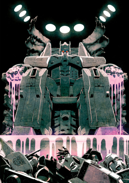 Overlord presides over an arena full of demolished Autobots in the second of two 'Last Stand Of The Wreckers' prints, inked by Nick Roche and colored by Josh Burcham for Auto-Assembly 2011.
