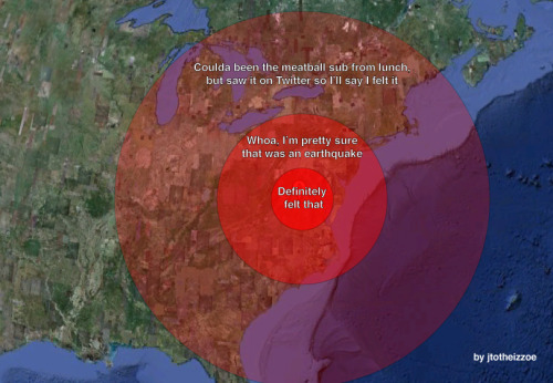 jtotheizzoe:  Earthquake reaction map. Couldn't resist.  bahaha