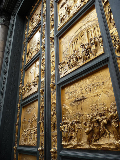 :: Friday Pasquinade:: The Gates of Paradise, otherwise known as the doors of the Firenze Baptistery, by Lorenzo Ghiberti. They only took 27 years to complete! It's a shame our current culture doesn't have the patience for something like this. Nowadays, modern technologies would dramatically reduce the production time. The ubiquitous absence of a demand for beauty remains, as does the need for patience in design and production of such a magnificent piece.
