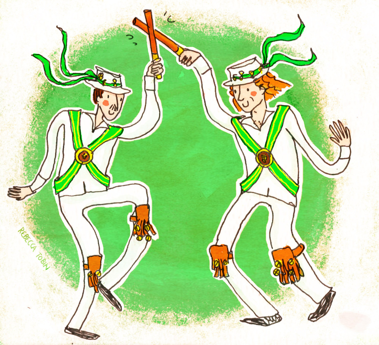 My scanner has returned! Hooray! To celebrate, here are some morris dancers I saw and then drew whilst camping in Yorkshire. Without morris dancers in the mix somewhere, it just doesn't feel like summer. Also, it's coloured in photoshop, I'm trying to become better at using it.