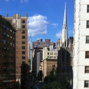 "Not a bad view from my ""NYC office' (a.k.a. AOL cafeteria)"