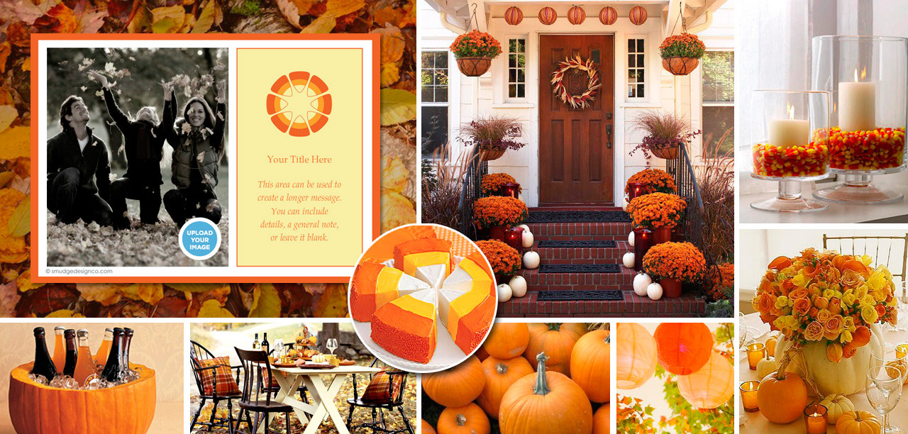 FALL PARTY (click photograph for larger image)Fall house and party decorating that will take you from pre-Halloween through Thanksgiving. Invitation: Pingg.com Food: Rootbeer and orange soda in hollowed out pumpkin coolers, candy corn, pumpkin seeds, candy corn cake or pumpkin pie. Meatloaf or multi-colored pasta as main dish. Decorations: Paper lanterns (Oriental Trading Co. or World Market), pumpkins, leaves, candy corn/candles in glass jars (glass jars and candles available at TJ Maxx, Ross, etc) Photo Credits: Better Home's and Gardens, Lillluna.com, Nebraska Pumpkins, Your Decorating Hotline, Martha Stewart, Vintage Rose Garden, Hostess Blog, Pillsbury.com, SouleMama, My Recipes