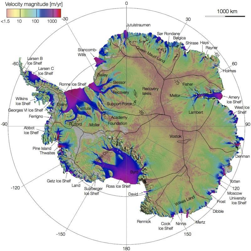 Via Science Daily:  A vast network of previously unmapped glaciers on the move from thousands of miles inland to the Antarctic coast has been charted for the first time by UC Irvine scientists. The findings will be critical to tracking future sea rise from climate change.