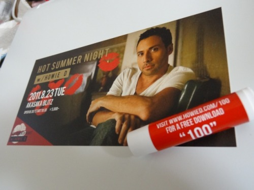 "last night i went to Howie D's event in Japan. these are ticket and lip stick! lip means his new single ""100"" kisses. :)"