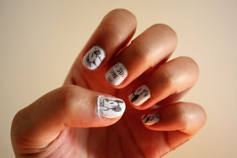 fashionoverhype:  Mutts. Comic strip nails ^_^ http://mellosmile.tumblr.com/ http://omgitsmelissaaa.tumblr.com/
