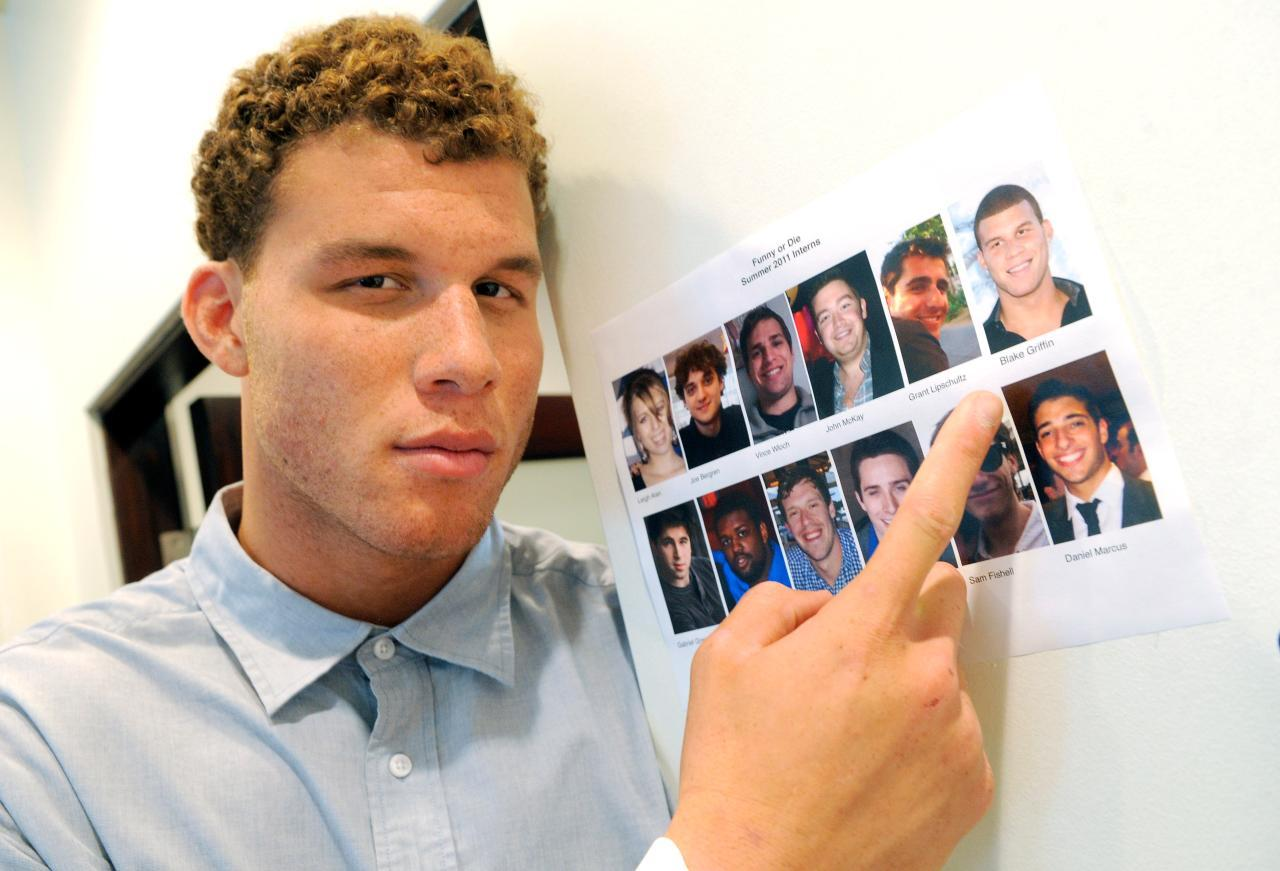 (via rillawafers)  The Associated Press: Blake Griffin begins internship at Funny Or Die  Meet Funny or Die's new intern! I heard he keeps trying to sneak Pat Sajak monologues onto their Hall of Fame page.