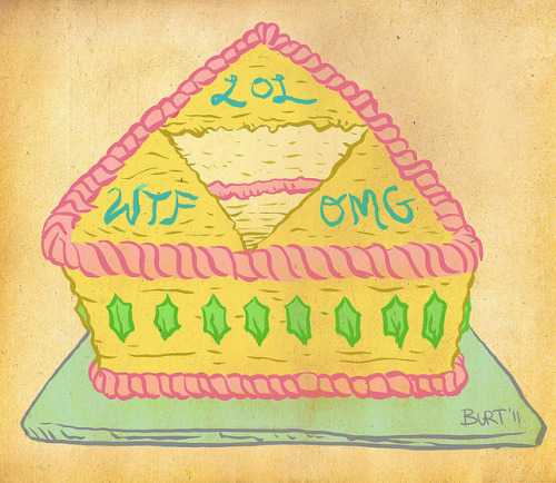 It is dangerous to go alone! Eat this! Birthday Cake Triforce, drawn for my dear friend Sarah. It's her BIRTHDAY TODAY, you guys! I figured she'd get a kick out of a cake Triforce of WTF, LOL and OMG. Zelda cut out the middle piece, which I guess would have been the Quadforce of NOM. Happy Birthday, Sash!