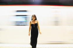 Having some fun in one of the Barcelona Metro stations.