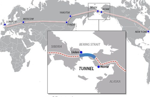 tiffehr:  infoneer-pulse:  $99 billion Bering Strait tunnel 'approved': Kremlin paves way for East to West rail link  …Booking a ticket from Grand Central to St Pancras Station could be a step closer after Russia gave the green light for plans for a 65-mile tunnel under the Bering Strait. The Kremlin this week gave its support for a $99 billion scheme that would link Asia and North America and allow for a potential once-in-a-lifetime train journey.  » via Mail Online