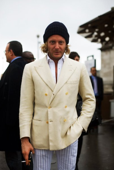 "qualityxsprezzy:  Lapo in a DB. Part 2  Does Lapo get away with ill-fitting cuffs, clown pants, a knit hat and his shirt unbuttoned down to his navel simply because ""he's Lapo"" or because he was found OD'ing on a cocaine-heroine cocktail surrounded by Italian transsexuals and lived to tell the tale?"